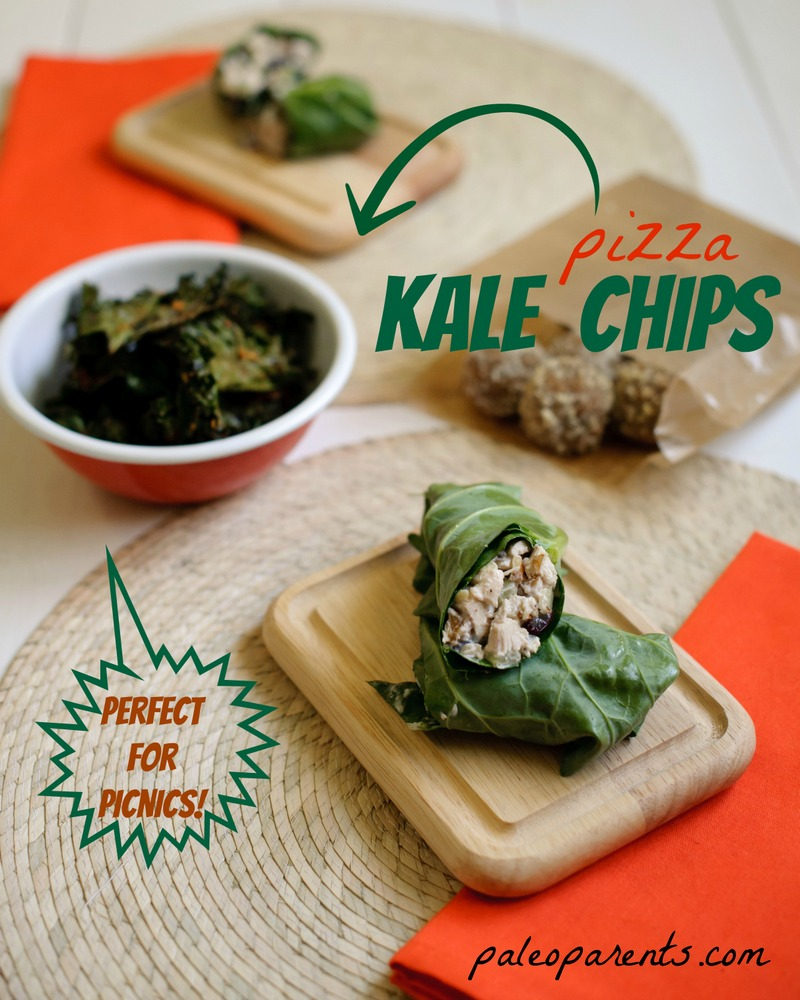 Pizza-Kale-Chips-by-Paleo-Parents, Great travel snacks for the holidays- Paleo and Healthy!