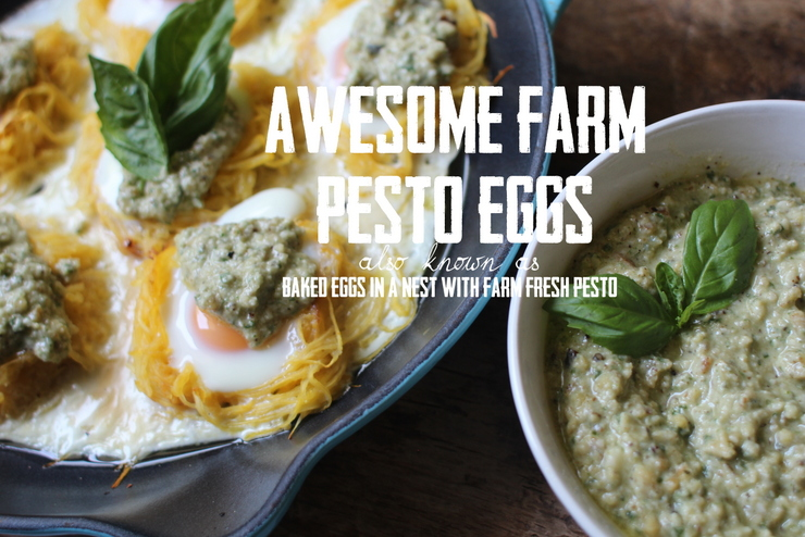 awesome farms baked eggs in nest with pesto