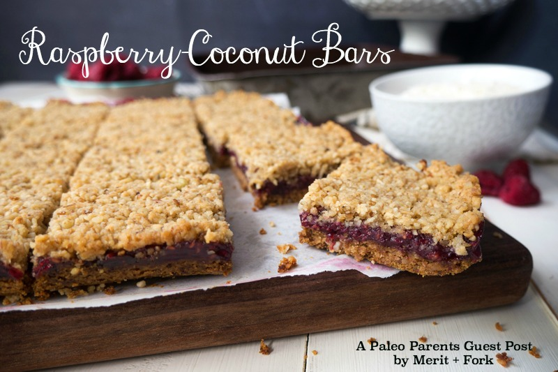 Raspberry Coconut Bars Guest Post, How to Use Up All Those Summer Berries! | Paleo Parents