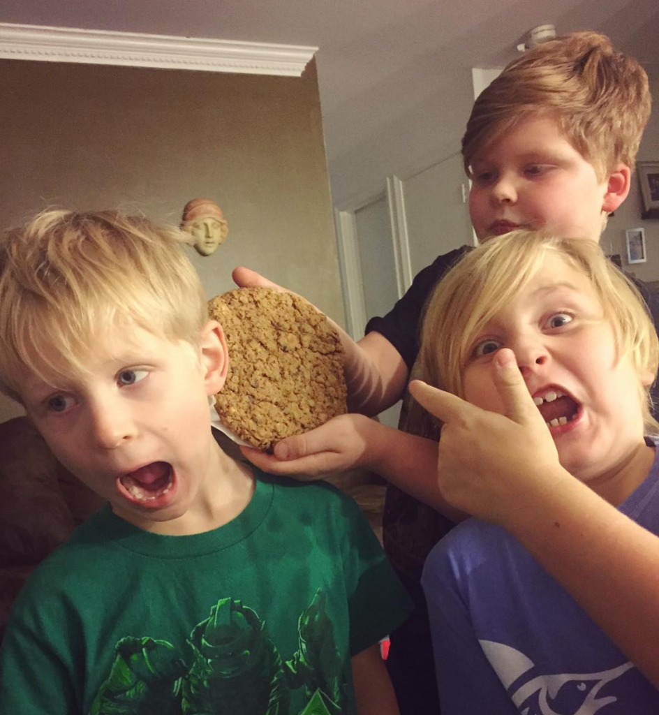 Boys with huge Paleo cookie