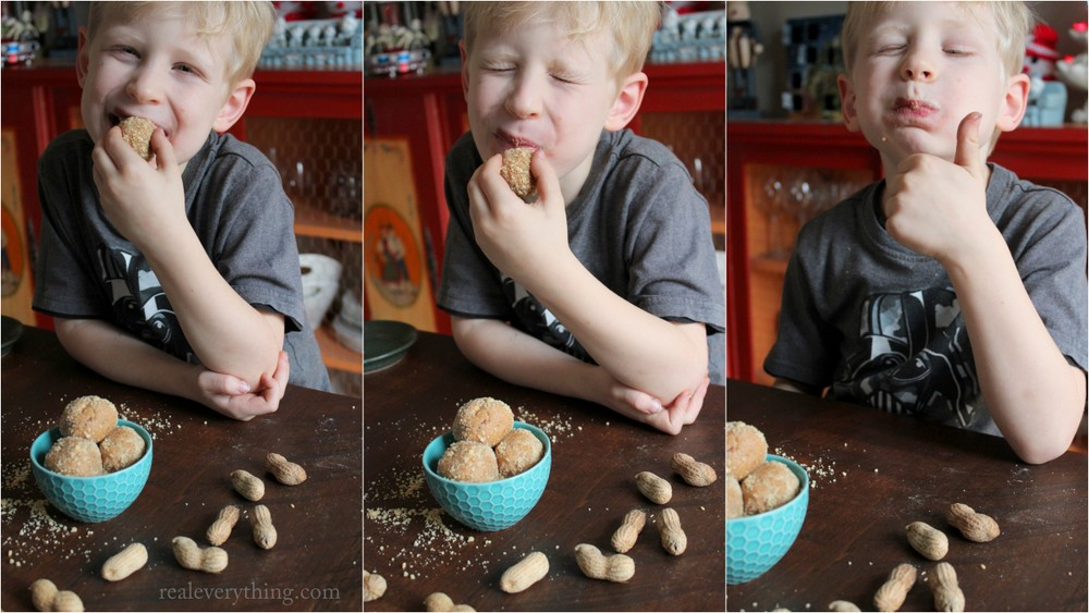 no bake peanut butter honey protein balls on realeverything