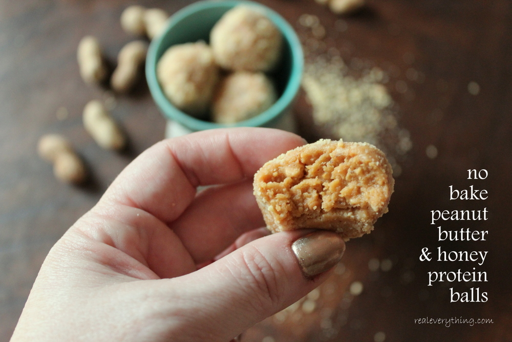 peanut butter honey protein balls on realeverything